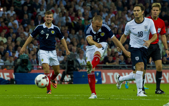 Kenny Miller nets against England at Hampden