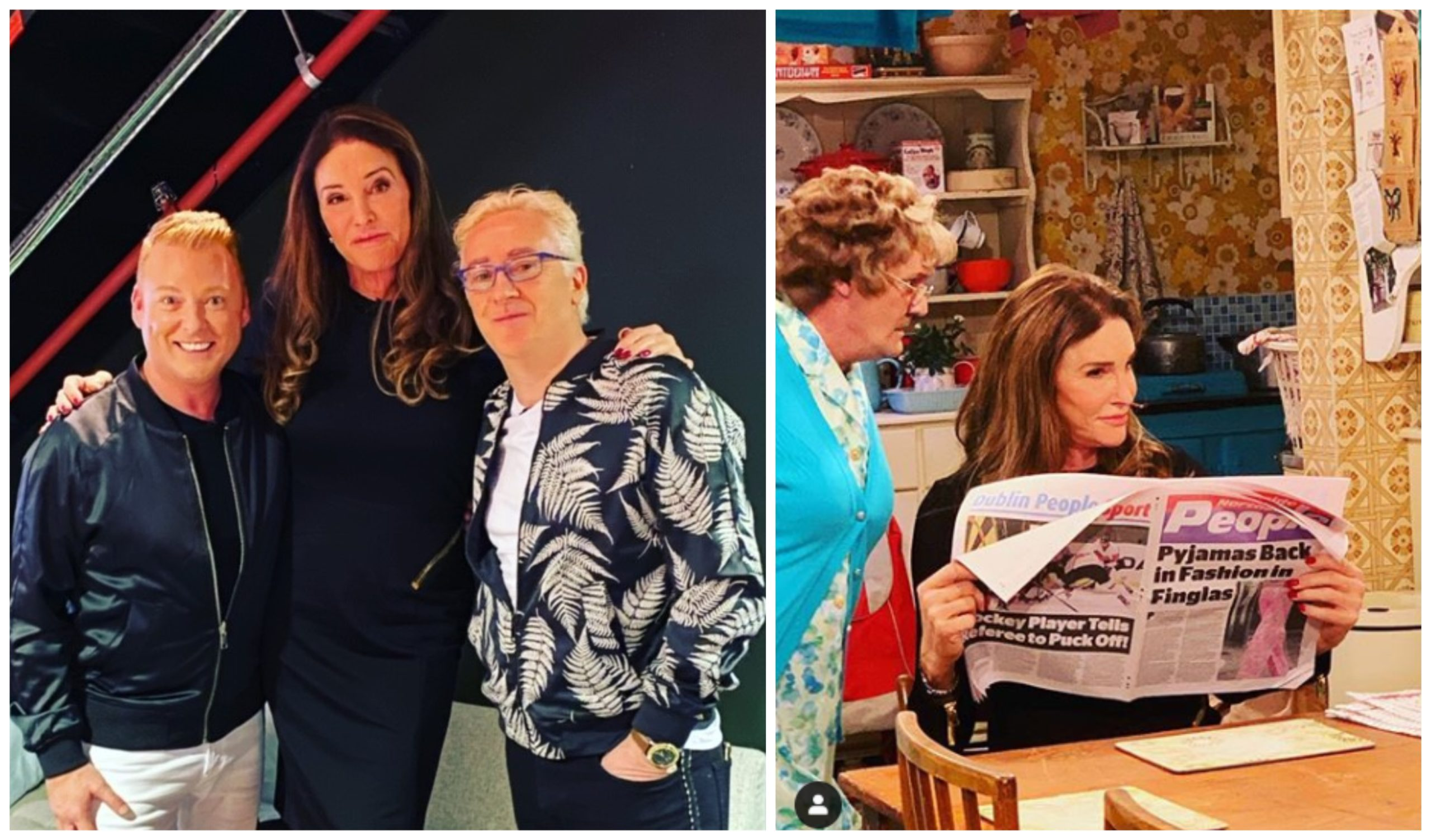 Caitlyn Jenner with Mrs Brown's Boys stars Gary Hollywood, left, and Damien McKiernan on her visit to Glasgow, and filming the cameo