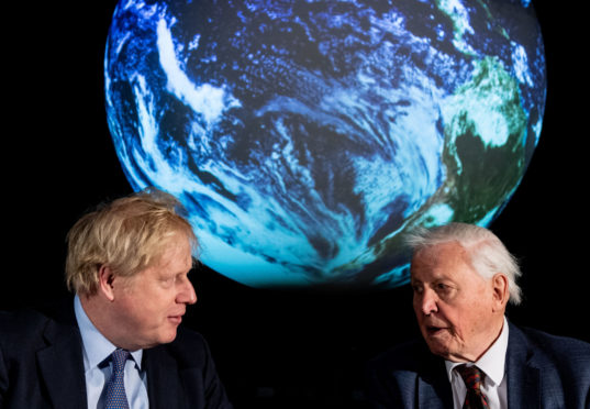 Boris Johnson and Sir David Attenborough at the launch of the next COP26 UN Climate Summit