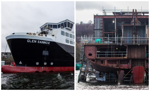 Glen Sannox, above, and her sister ship, Vessel 802, are being built a few hundred yards from each other at the shipyard