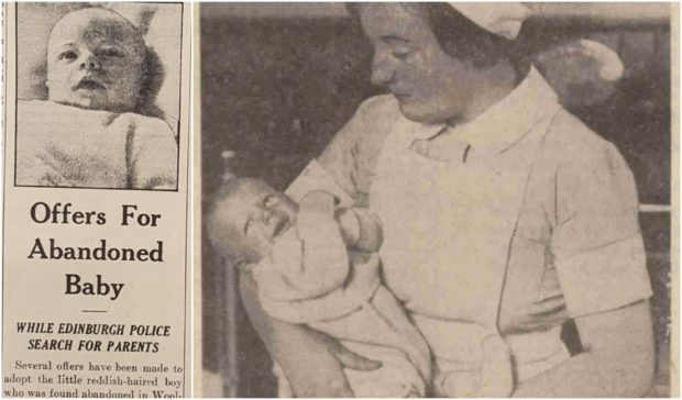 Peter is held by a nurse after being discovered, right, after the story was reported in the Sunday Post