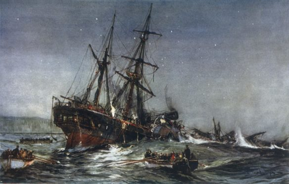 The sinking of the HMS Birkenhead, painted by Charles Dixon