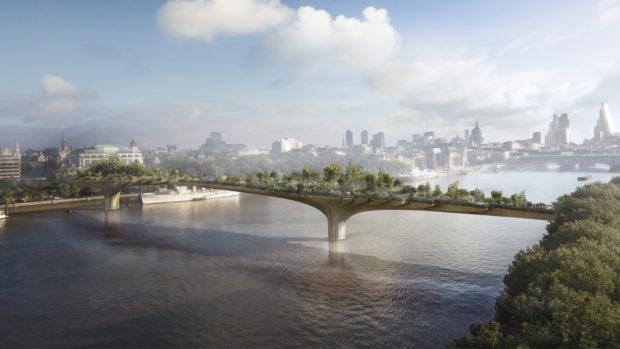 An artist's impression of the London Garden Bridge