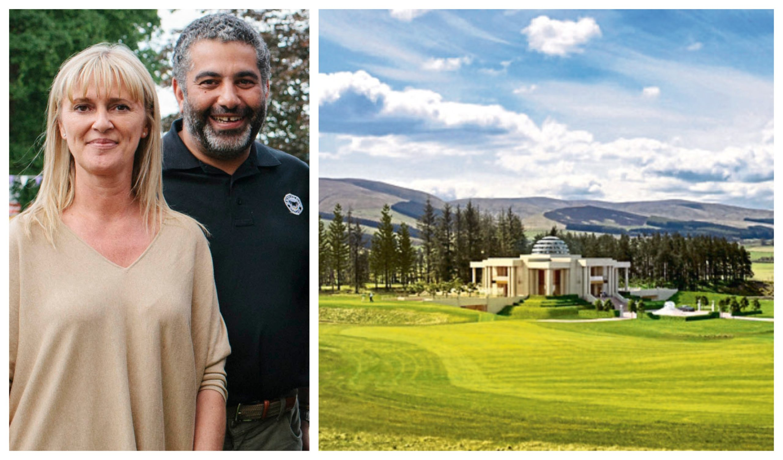 Martine Altajir and Mohsin Altajir at the 2014 Royal Highland Show (left) and the unopened gWest golf course near Gleneagles, which is owned by the Altajir family