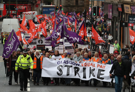 Equal pay marchers at a Glasgow demonstration