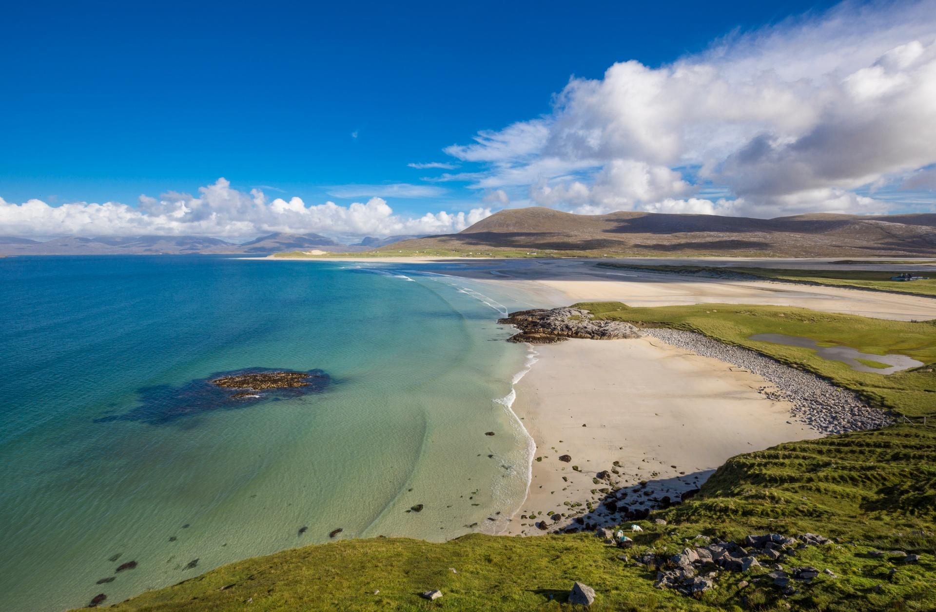 Enjoy a romantic stroll along Luskentyre Sands, on the Isle of Harris