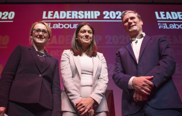 Labour leadership candidates Rebecca Long-Bailey, Lisa Nandy and Sir Keir Starmer after the Labour leadership hustings in Glasgow