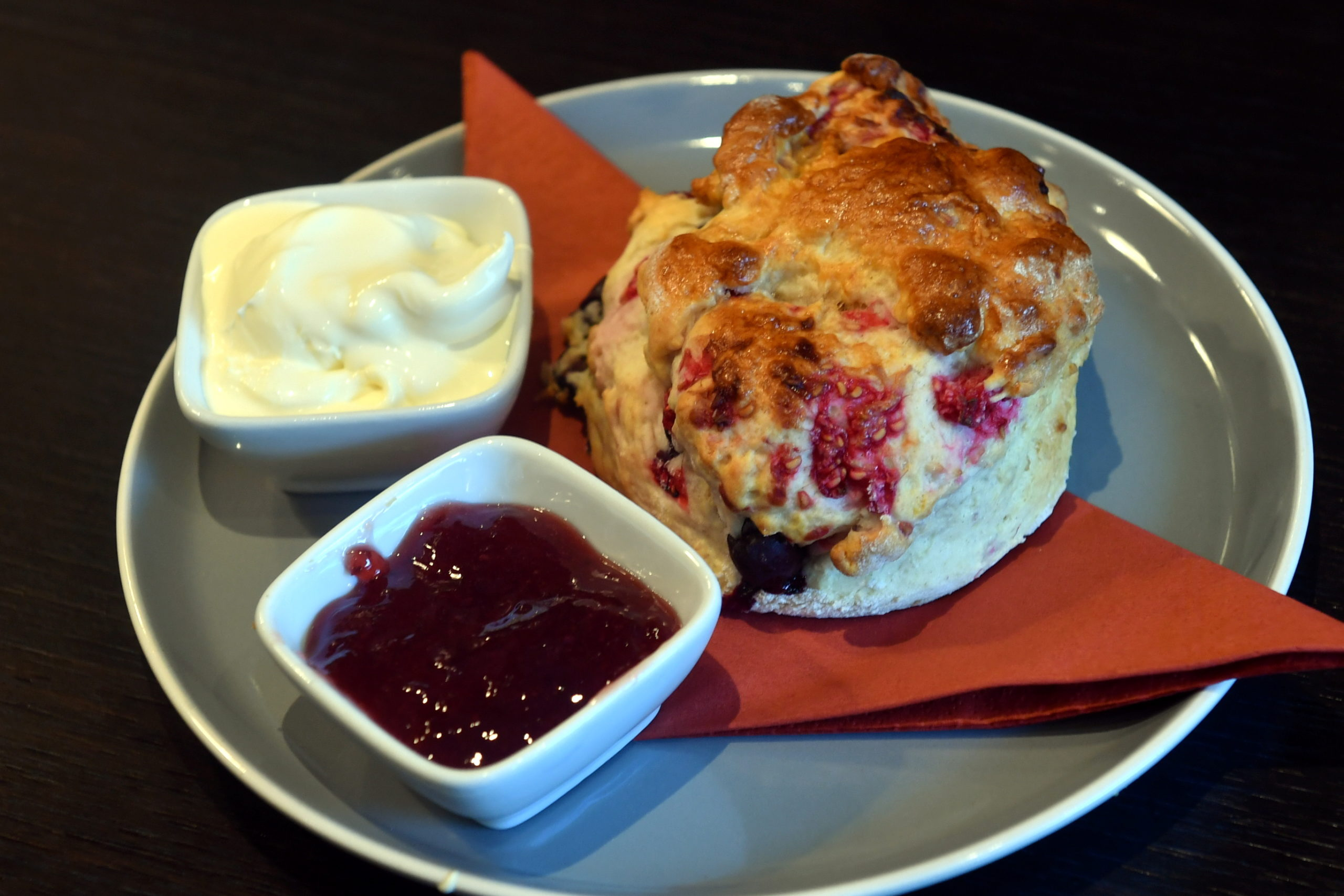 Blether's delicious raspberry and coconut scone