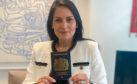 Home Secretary Priti Patel with the new blue passport