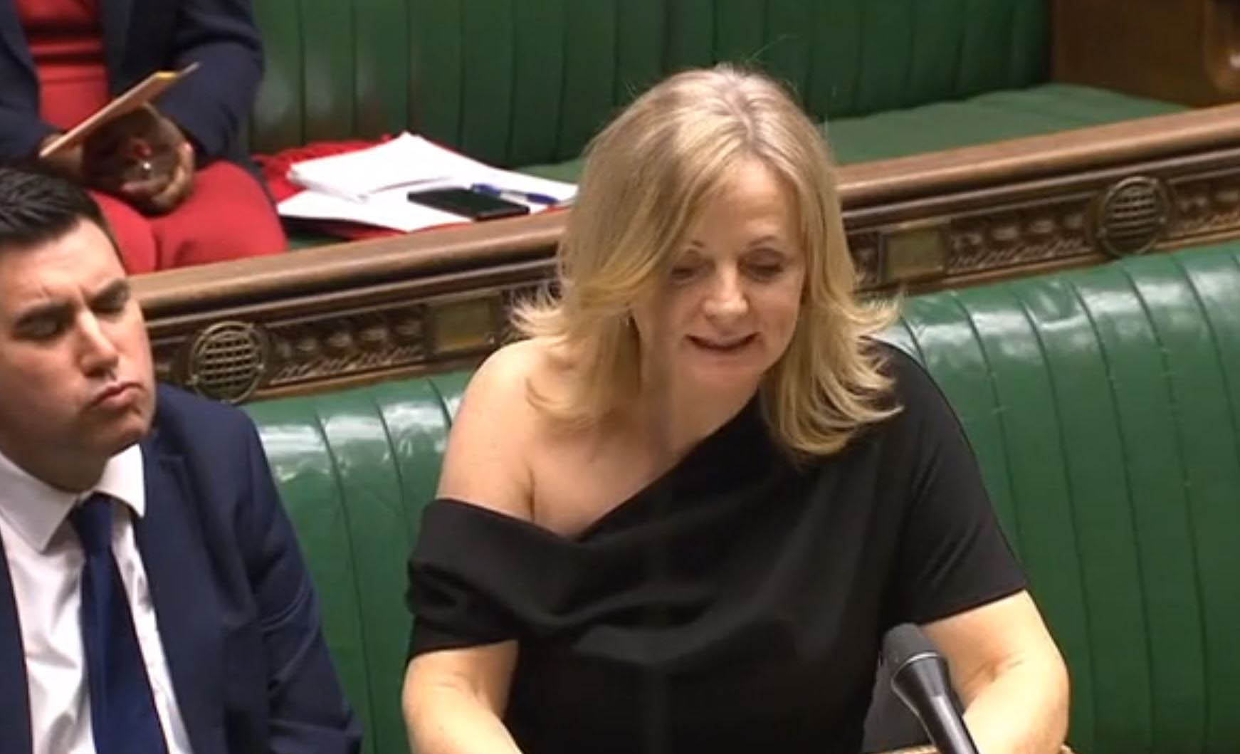Shadow Culture Secretary Tracy Brabin in off-the-shoulder dress in the Commons last week