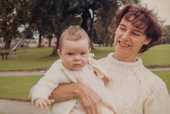 Mum Wynne holds baby Samantha in Glasgow in 1968