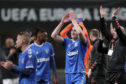 Rangers' George Edmundson, centre, celebrates at the end of win over Braga