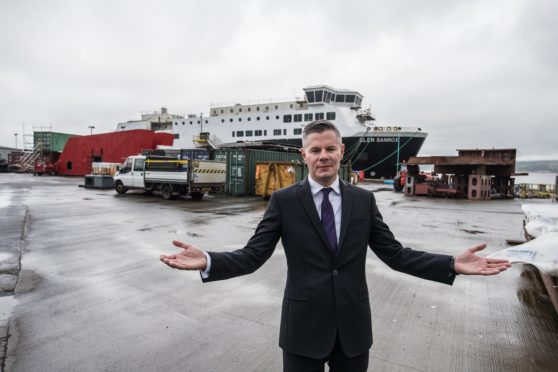 Finance Secretary Derek Mackay at the yard after it was nationalised