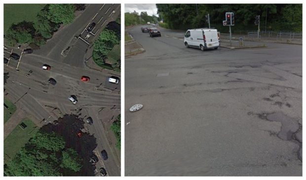 Potholes in Titwood Road, Glasgow, are visible on satellite images while street-level views reveal hubcaps lost by vehicles  on pitted road