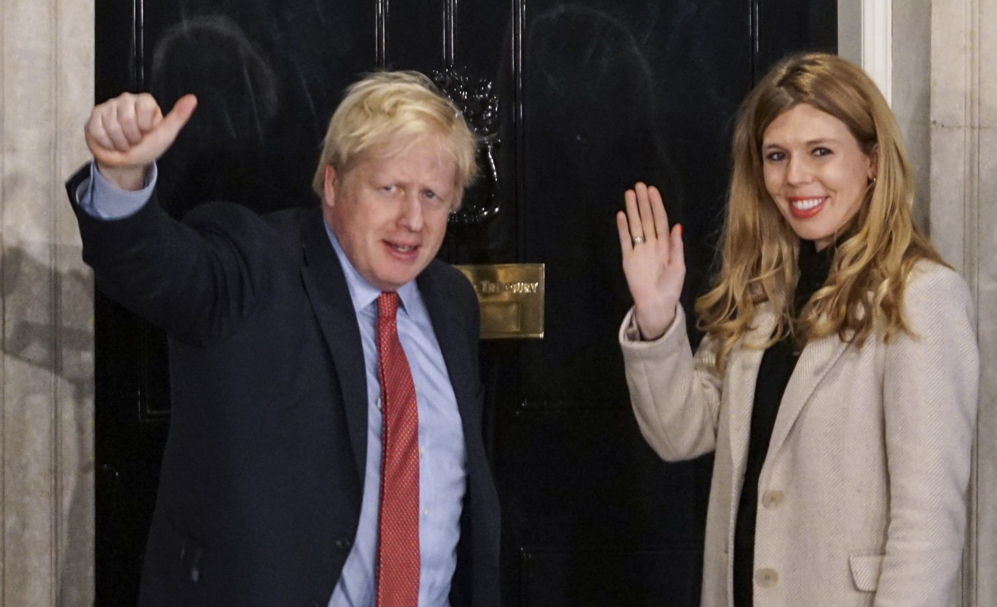 Prime Minister Boris Johnson and his girlfriend Carrie Symonds outside No 10 Downing Street