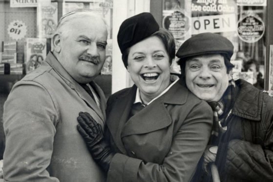 Lynda with David Jason and Ronnie Barker in Open All Hours