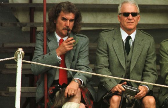 Billy Connolly and Steve Martin at Lonach Highland Games