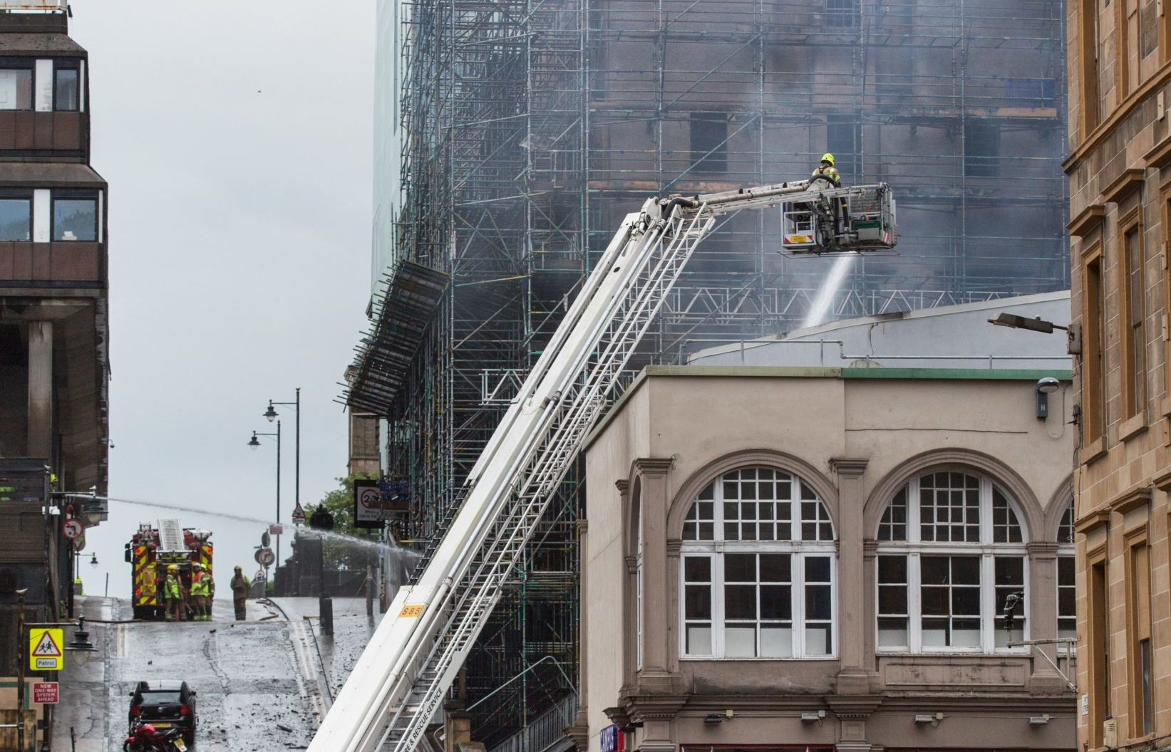 Firefighters attending the scene of the 2018 fire at the Glasgow School of Art's Mackintosh building
