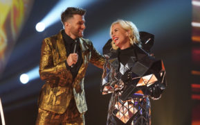 Presenter Joel Dommett with Denise Van Outen