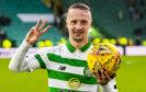 Celtic's Leigh Griffiths celebrates his hat trick against St Mirren