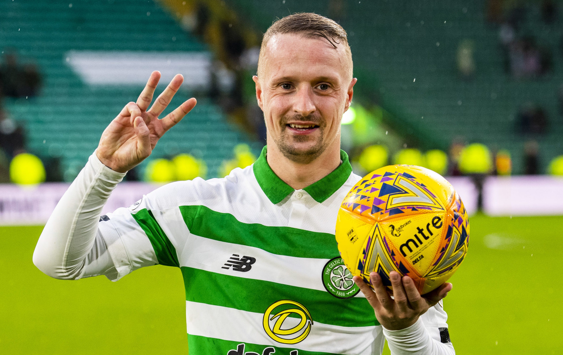 Celtic's Leigh Griffiths celebrates his hat trick against St Mirren