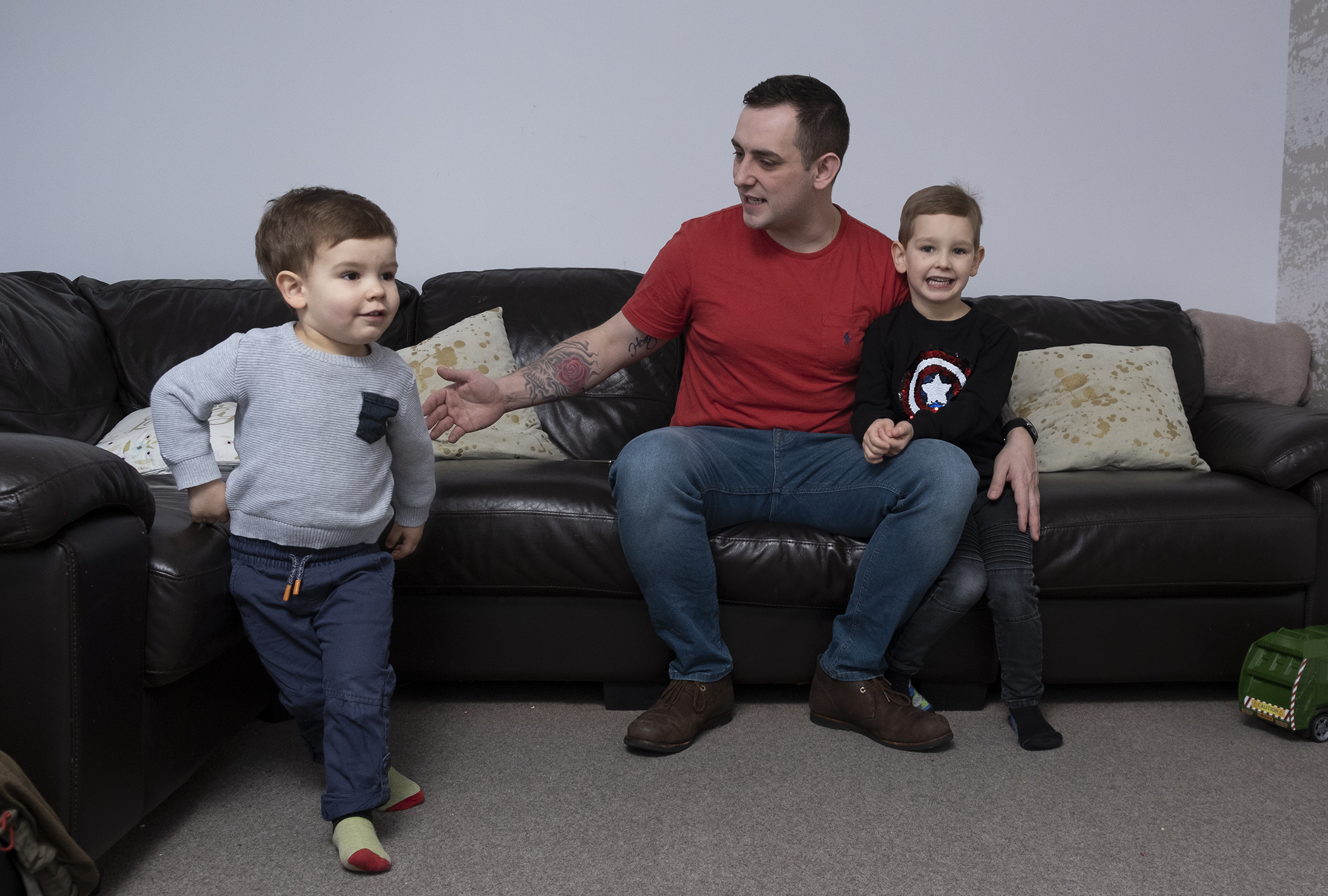Nick Stewart at home with his children, Henry, four and two-year-old Ellis in Alford, Aberdeenshire