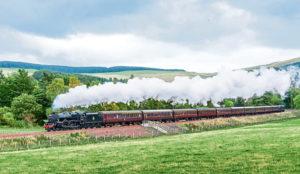 Steam locomotive on the Borders Railway line