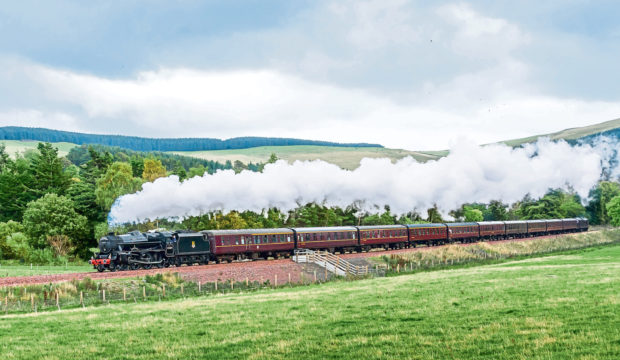 Steam locomotive on the Borders Railway line