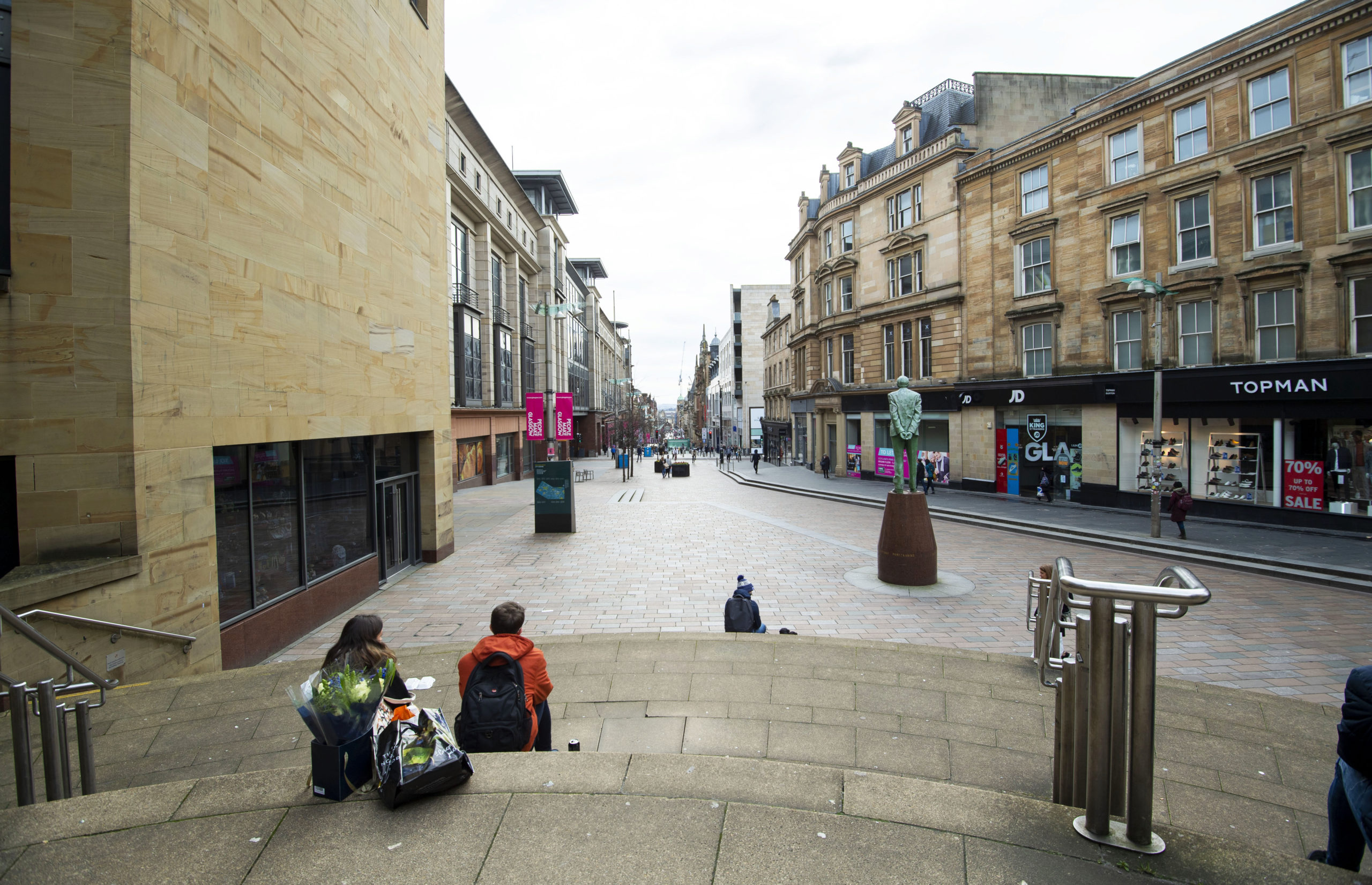 A quiet Buchanan Street in Glasgow during lockdown