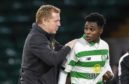 Celtic boss Neil Lennon with young defender Jeremie Frimpong