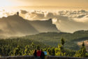 Stunning view of  volcanic Roque Nublo in Gran Canaria's central uplands