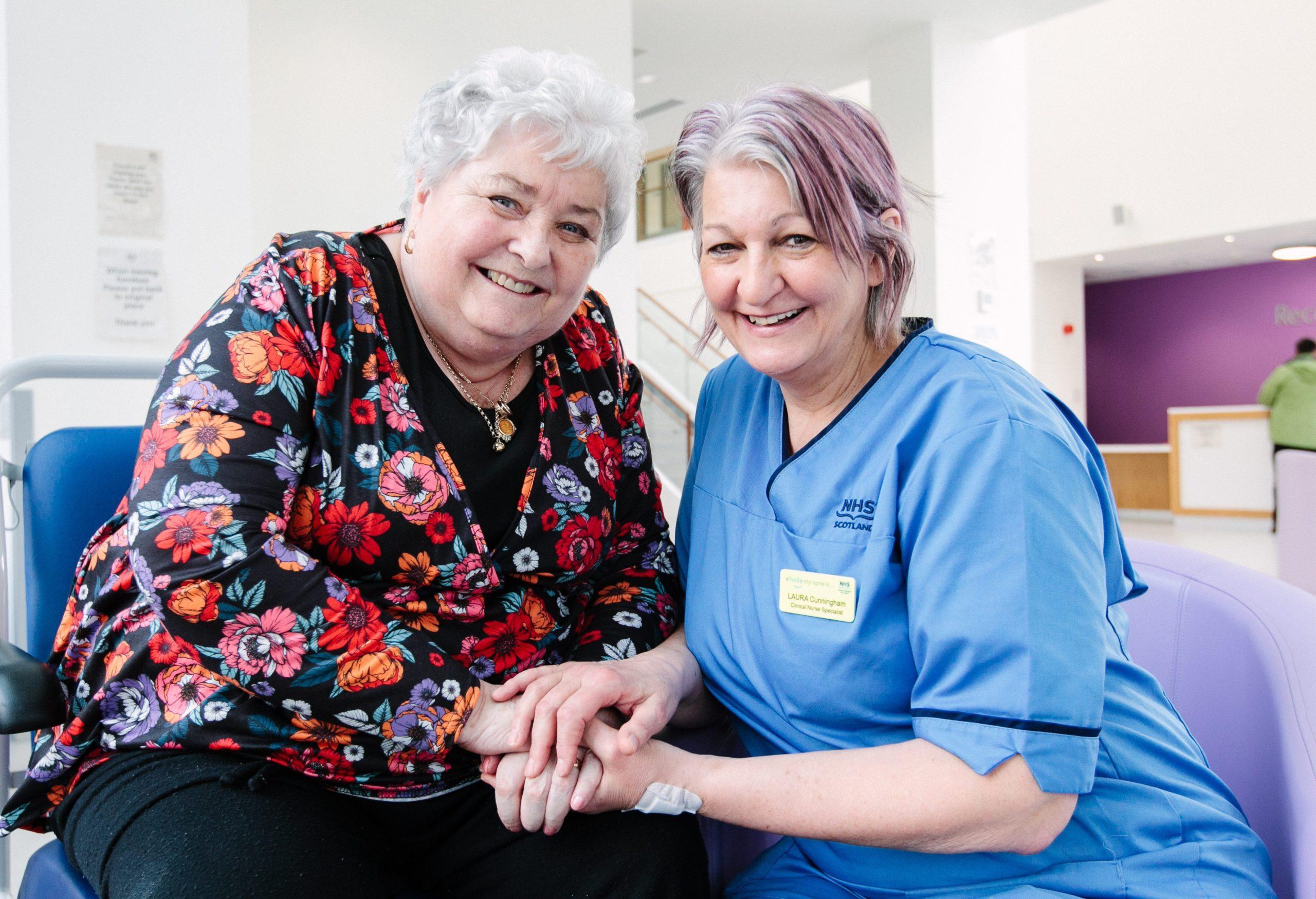 Joan Martin, 74, with nurse Laura Cunningham at Queen Elizabeth University Hospital in Glasgow
