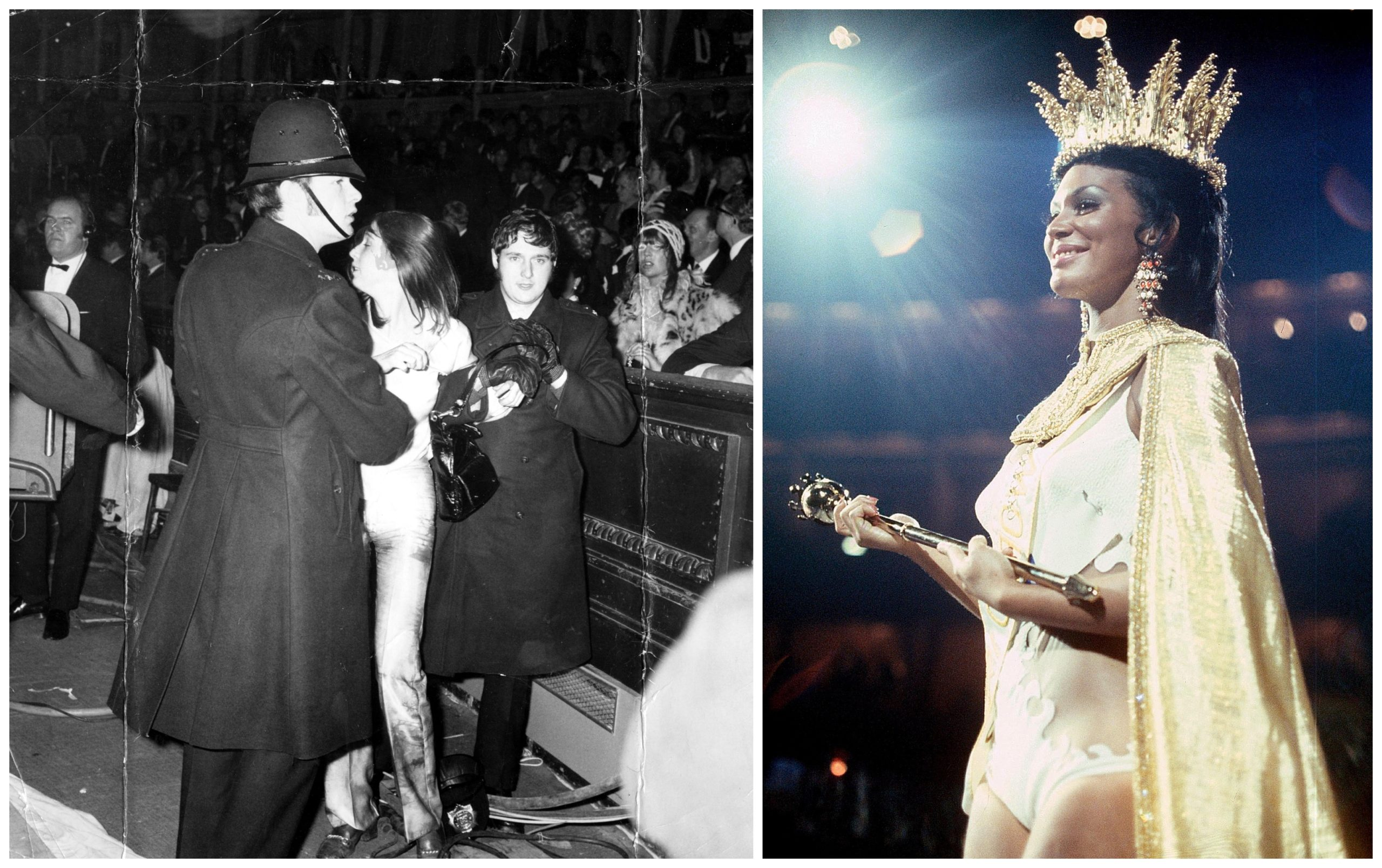 Jennifer Hosten, right, is the first black woman to be crowned Miss World, at 1970 pageant targeted by activists at Royal Albert Hall in London; left, a police officer restrains a protester