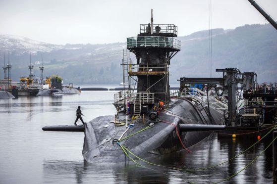 Vanguard-class submarine HMS Vigilant at Faslane