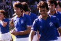 Gordon Smith and Davie Cooper celebrate Dryburgh Cup success with Rangers in 1979