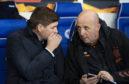 Steven Gerrard (L) and assistant Gary McAllister
