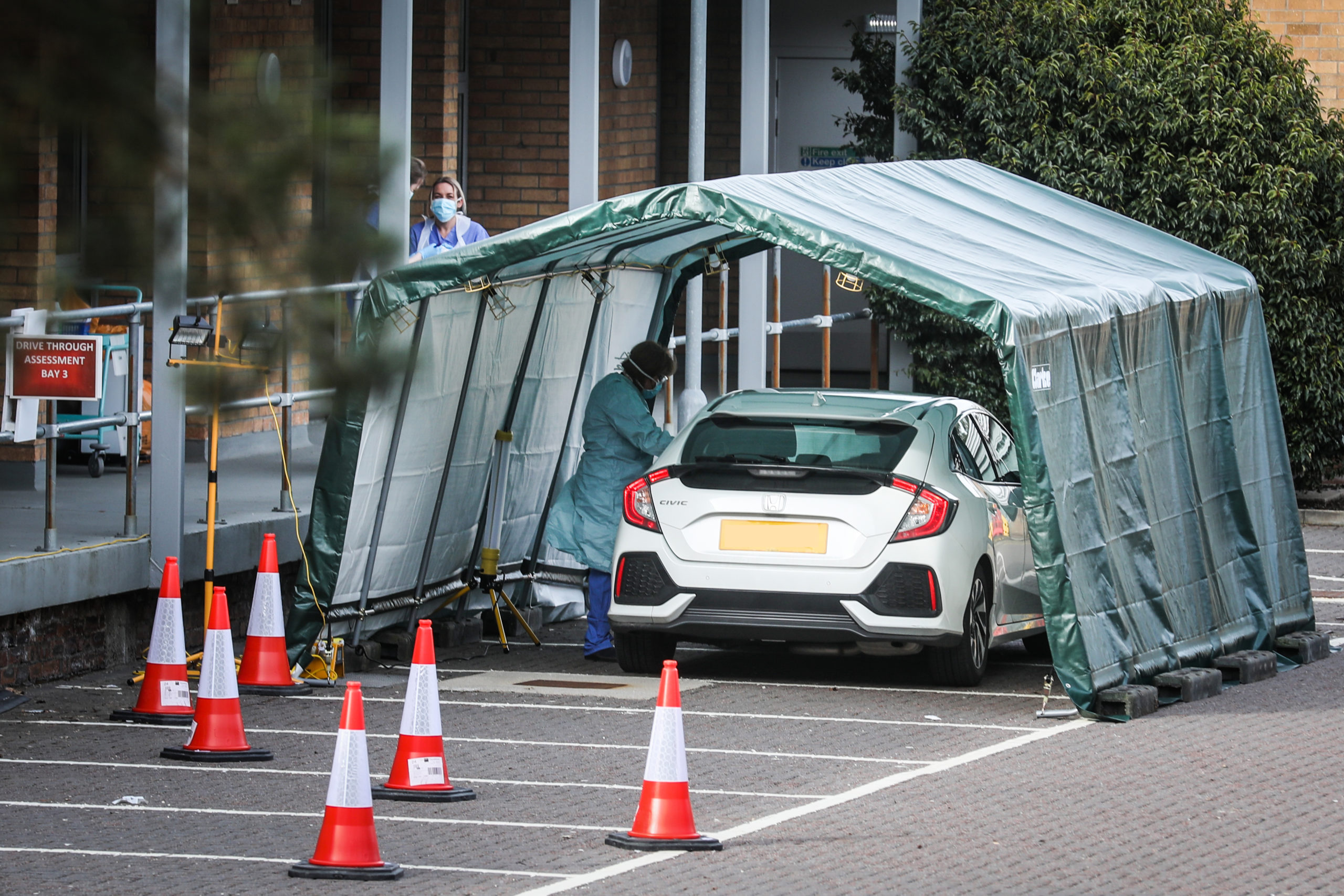 The coronavirus testing tents in the car park of King's Cross Hospital in Dundee. Other health boards will open similar facilities