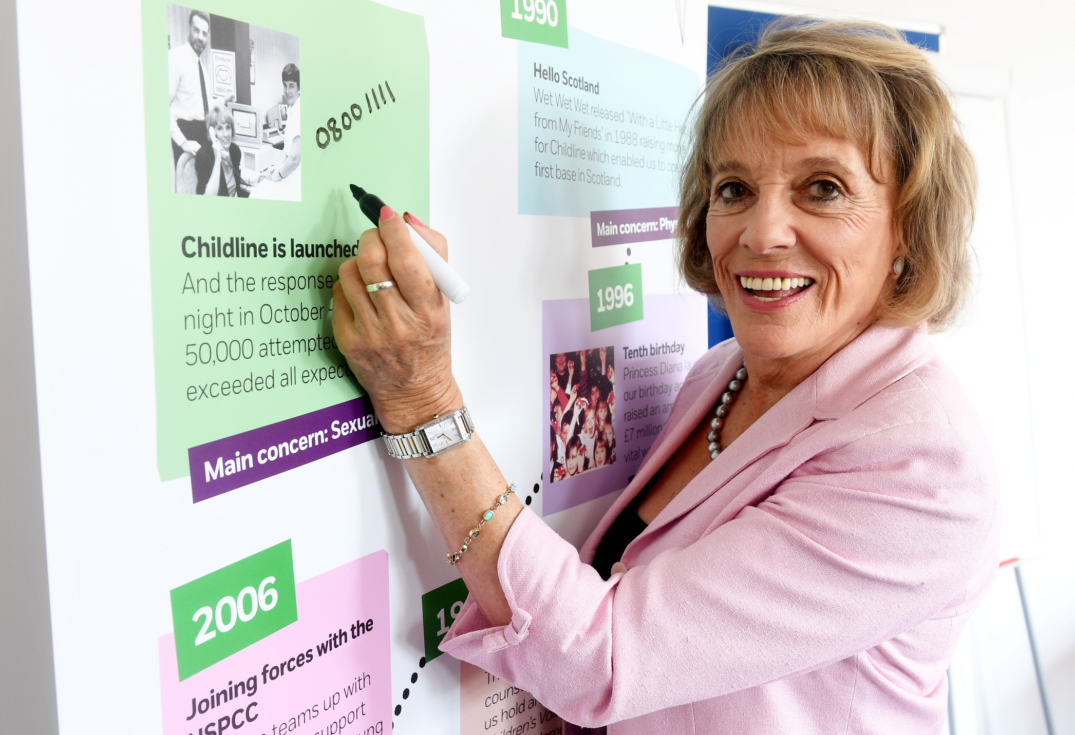 Dame Esther Rantzen, founder of Childline, at the charity's Aberdeen office