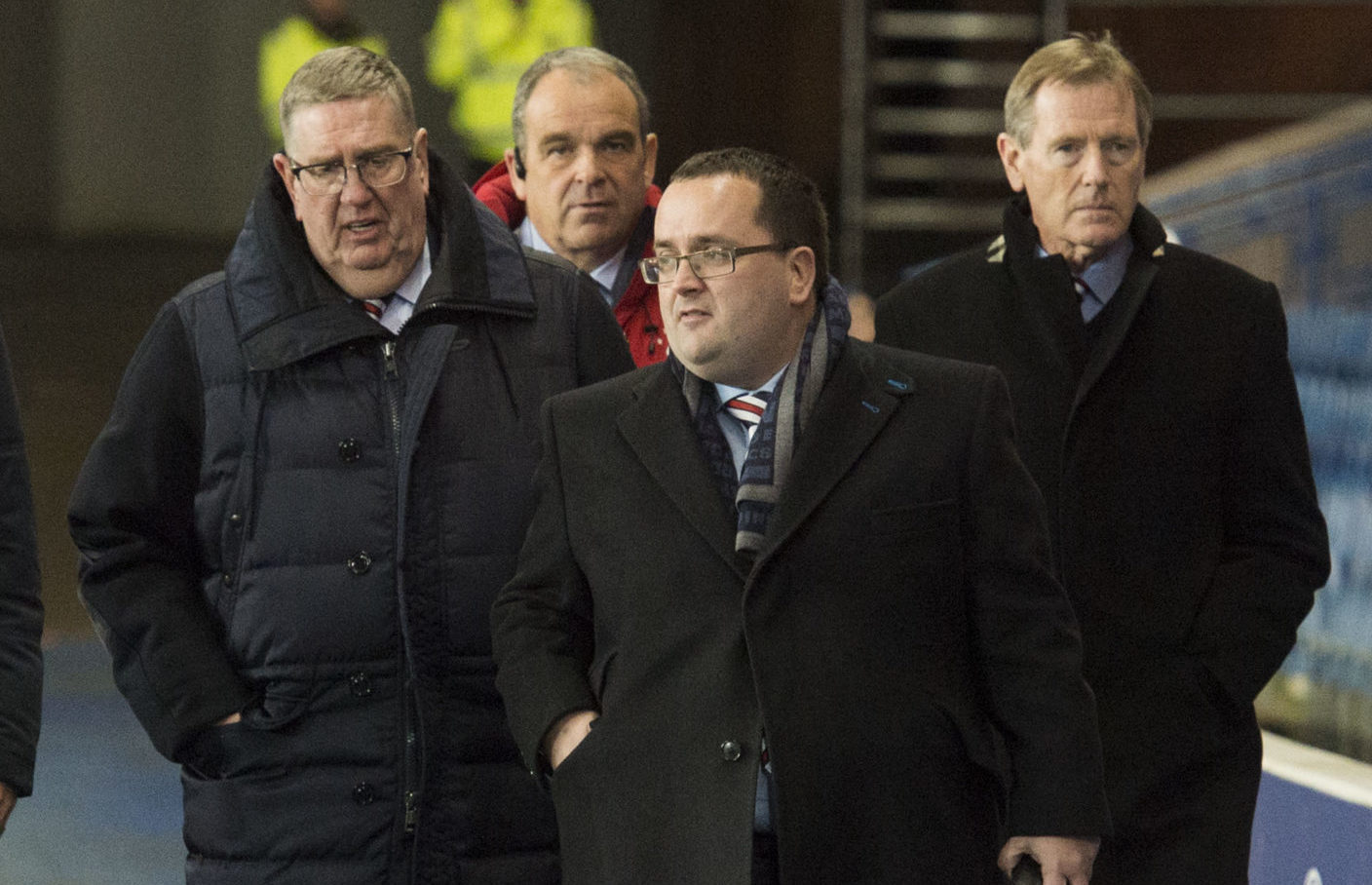 Douglas Park (left) at Ibrox with Dave King and his son, Graeme, who remains on the Ibrox Board