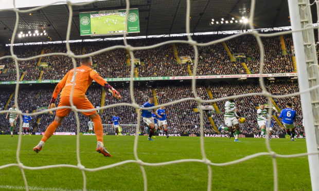 The controversial moment Callum McGregor's shot hit Odsonne Edouard's hand to deflect the ball past Allan McGregor