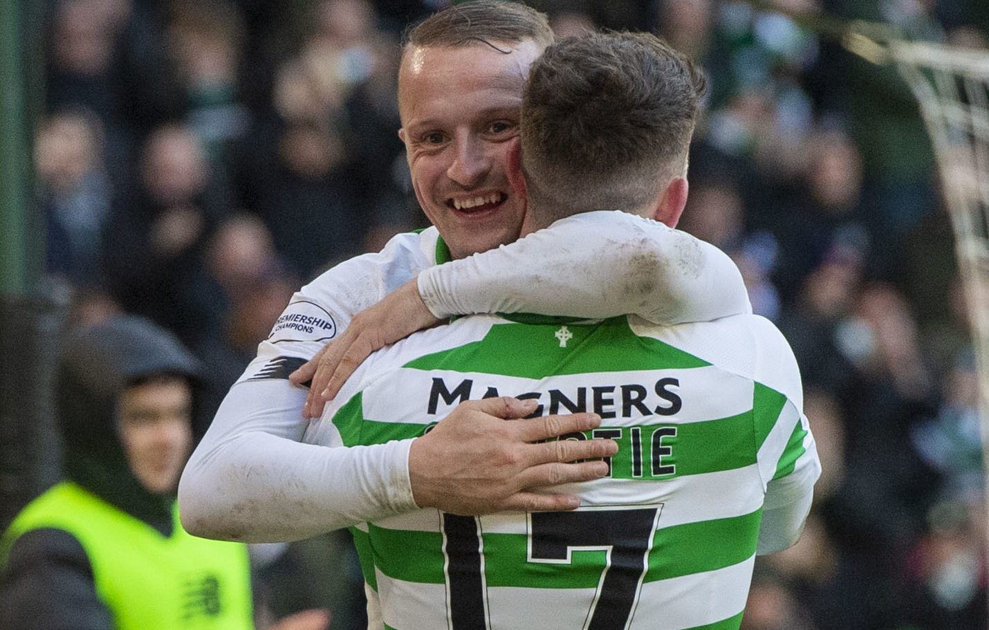 Leigh Griffiths celebrates with Tom Rogic