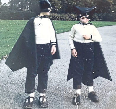 A young Donald MacLeod and his brother Calum in identical Batman costumes