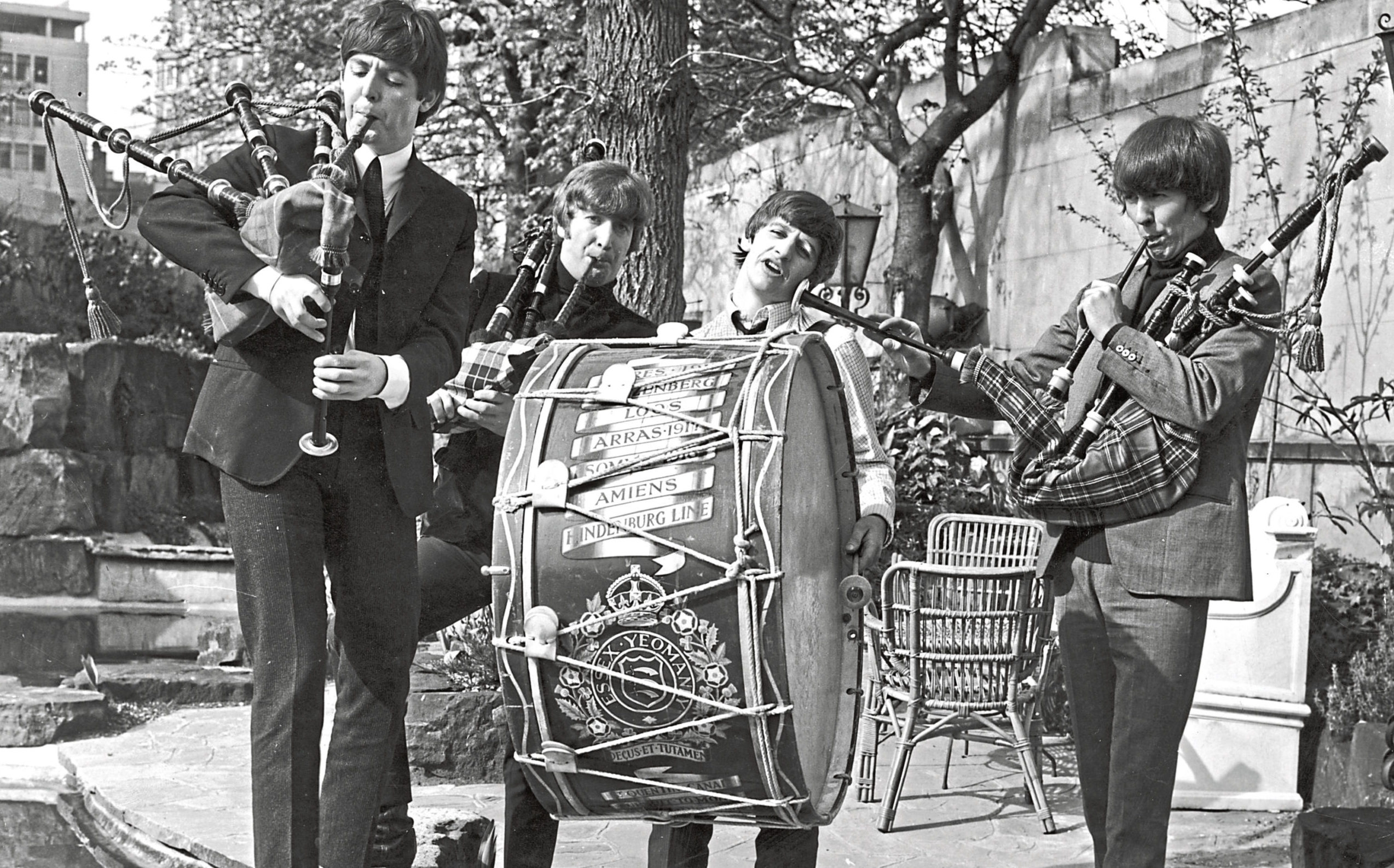 Paul, John, Ringo and George on bagpipes and  marching drum on April 29, 1964 ahead of gigs that night at the ABC in Edinburgh