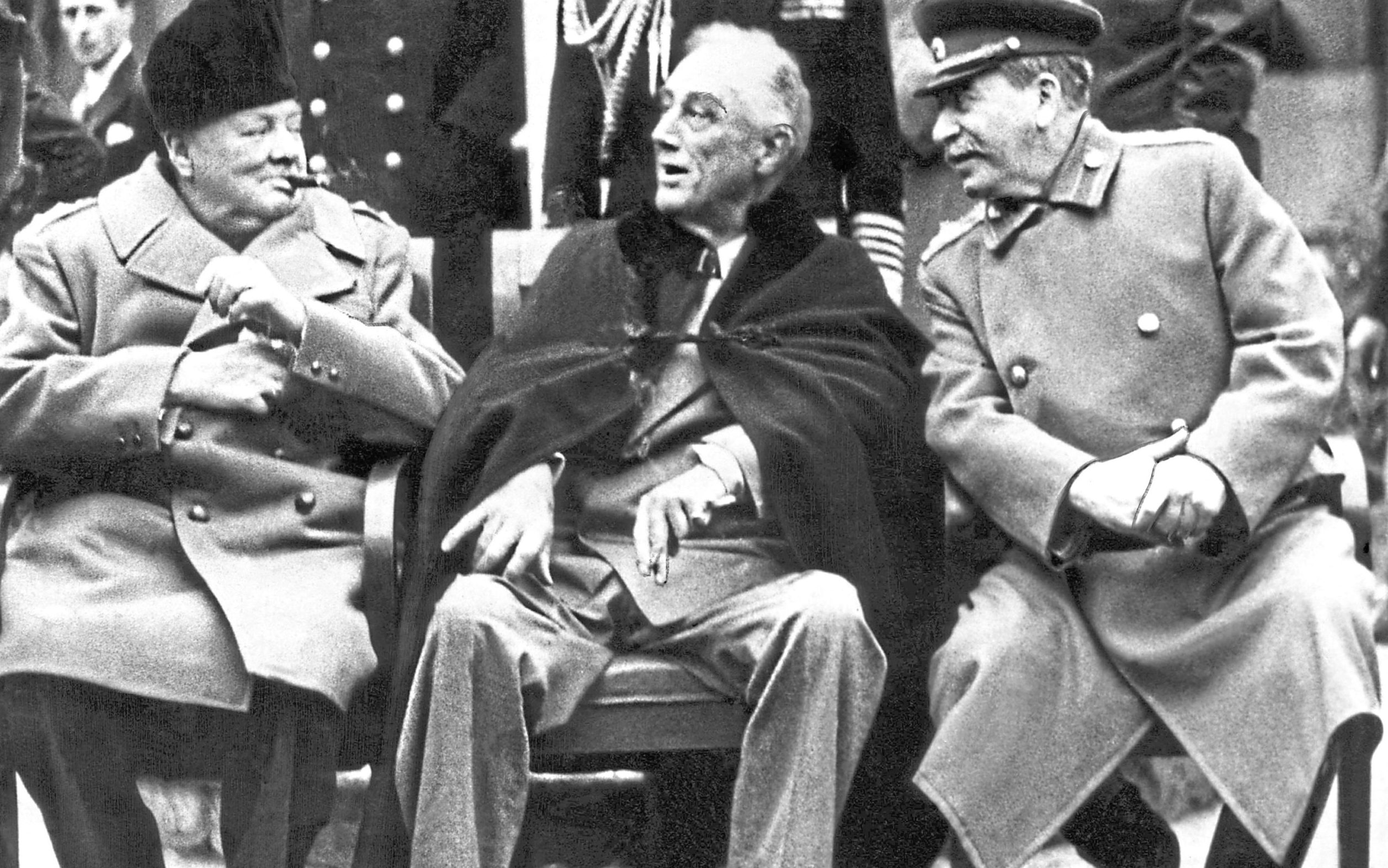 Winston Churchill, Franklin D Roosevelt and Joseph Stalin at the Yalta Conference in February 1945