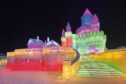 A giant ice sculpture at Harbin Ice and Snow Festival in China