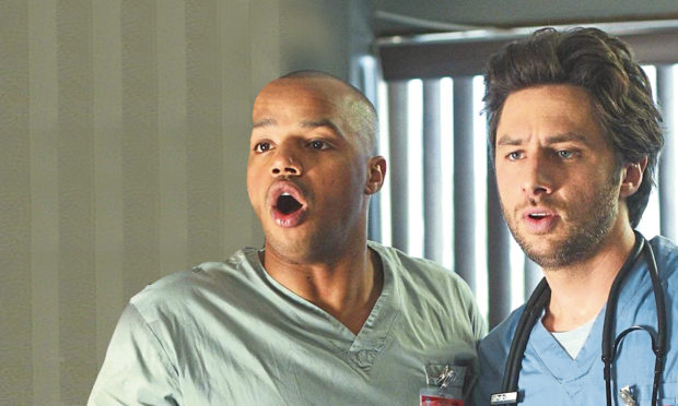 Donald Faison and Zach Braff in noughties medical sitcom Scrubs