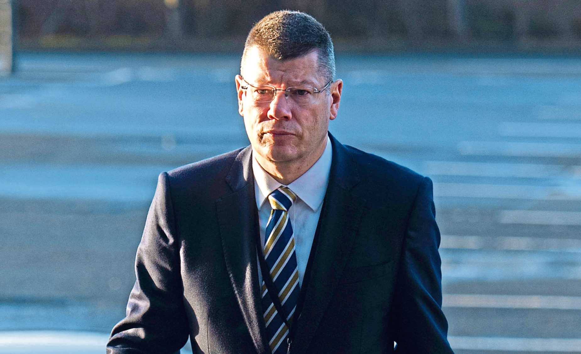 Neil Doncaster arriving for work at Hampden before lockdown