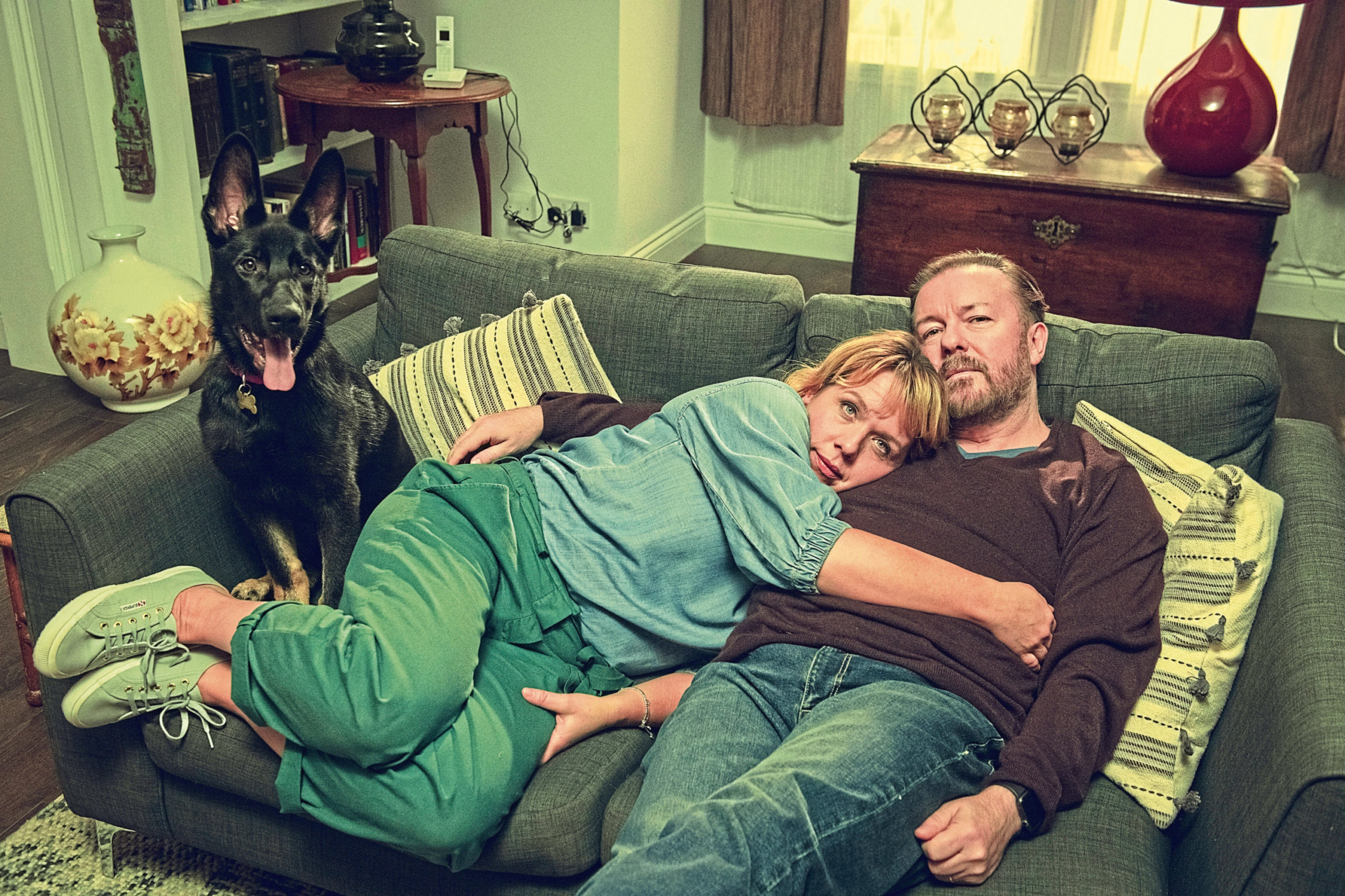 Ricky Gervais and Kerry Godliman in After Life season 2