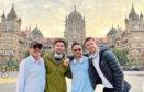 Dad Dougie with Adam, Ryan and Scott Thomas at Mumbai Station