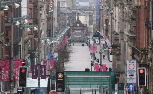 Glasgow's shopping mecca, Buchanan Street, deserted during lockdown